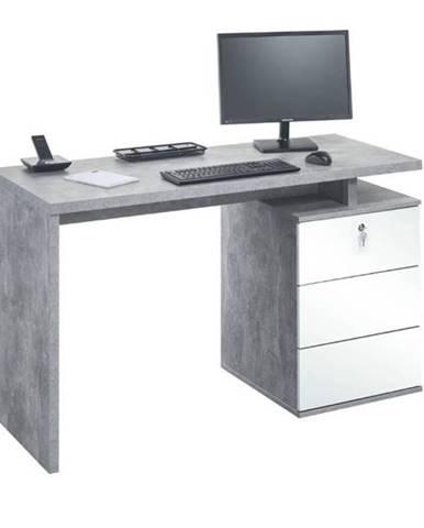Pracovný stôl EMERSON betón/biela
