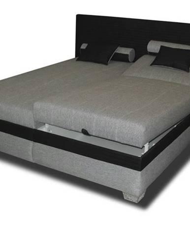 Polohovacia posteľ GENOVIA čierna/sivá, 180x200 cm